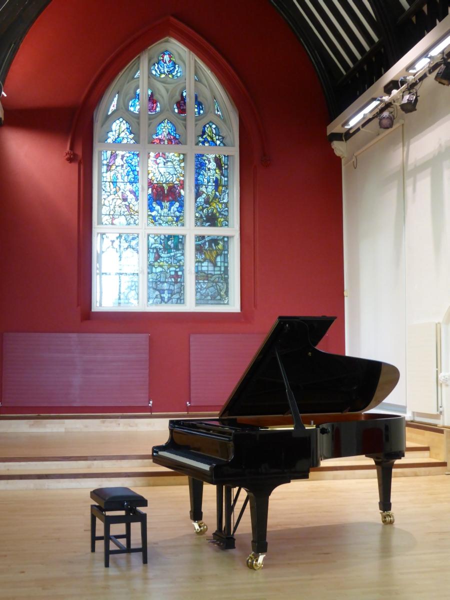 Steinway piano in the auditorium