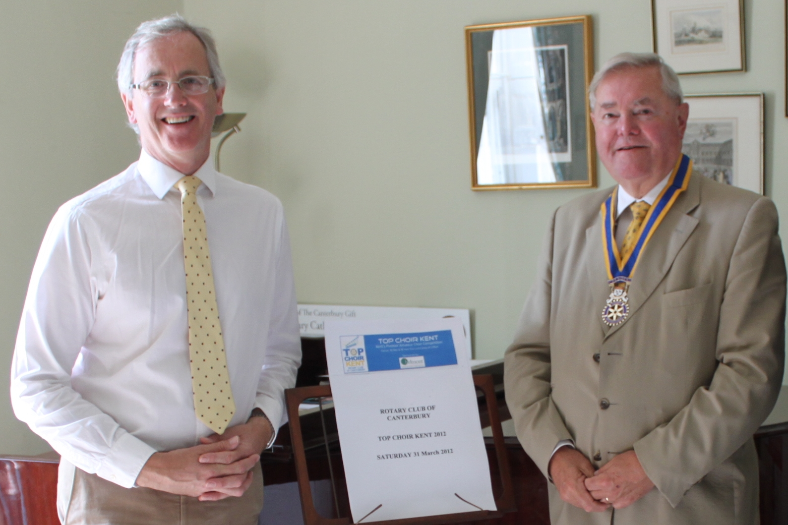 Dr David Flood (left) and President Harry Cragg launch Top Choir Kent 2012