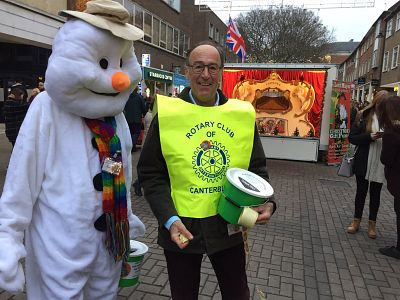 Rotarians assisting with fundraising in Canterbury.