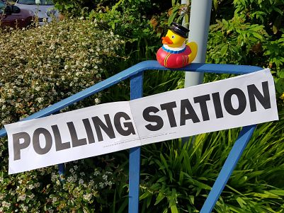 Duck travels: At the polling station!