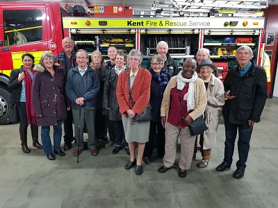 Rotarians and their spouses at Canterbury Fire Station.