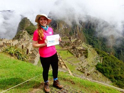 Picture: Kara-Jane Senior holds up a Rotary placard in acknowledgement of our support for her trek.