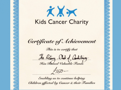 Certificate from Kids Cancer Charity