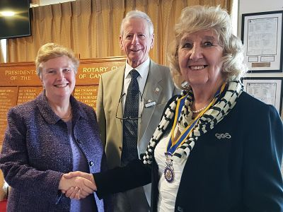 Maxine with nominator Adrew Barchi and Club President Margaret Griffin