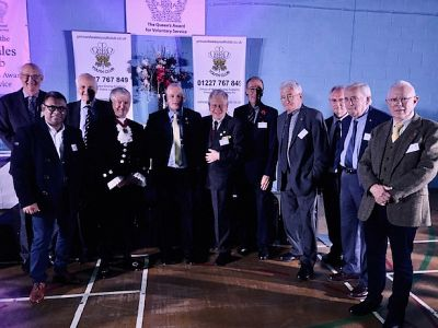 Rotarians pose with the Vice Lord Lieutenant of Kent Richard Oldfield and POWYC Co-ordinator Joey Wicks