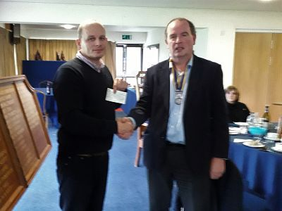 Picture: President Neil Fraser hands over the cheque to Joey Wicks.
