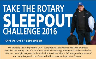 Rotary Sleepout Challenge Sept 17th 2016