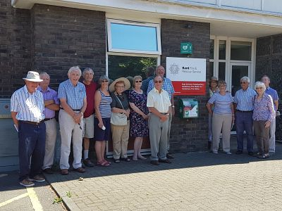 Rotarians and partners at the Fire Station in Canterbury.
