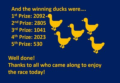 Winning numbers in our duck race 2019
